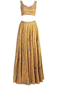 Gold Embroidered Lehenga Set by Diya Rajvvir