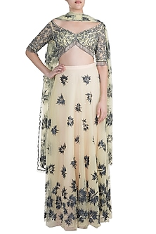 Yellow Embroidered Lehenga Set by Diya Rajvvir