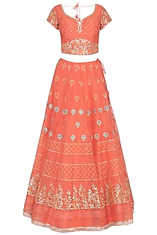 Orange Embroidered Lehenga Set by Devnaagri