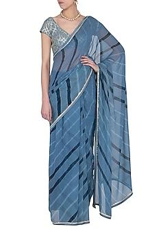 Blue Embroidered Leheriya Saree Set by Devnaagri