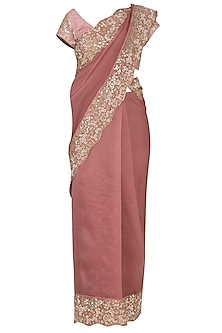 Burgundy Embroidered Saree Set by Devnaagri