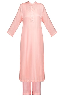 Pink Embellished Kurta Set by Devnaagri