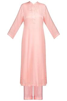 Pink Embellished Kurta Set by Devnaagri
