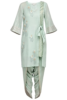 Sea Green Embroidered Kurta Set by Devnaagri