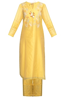 Yellow Embroidered Kurta With Palazzo Pants by Devnaagri