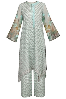 Sea Green Embroidered Printed Kurta With Pants