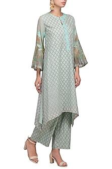 Sea Green Embroidered Printed Kurta With Pants by Devnaagri