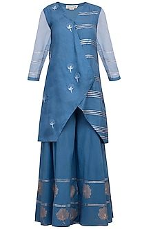 Blue Embroidered Kurta With Sharara Pants by Devnaagri