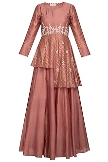 Rust Pink Embroidered Kurta With Skirt