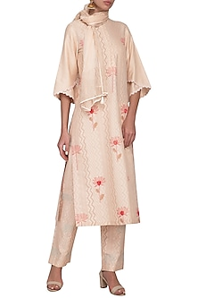 Peach Embroidered Printed Kurta With Slim Pants & Scarf by Devnaagri