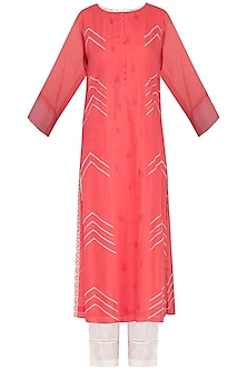 Red Embroidered Printed Kurta Set