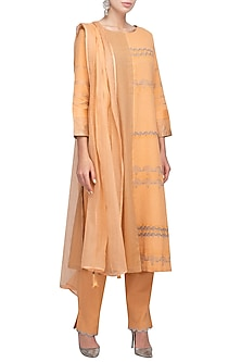 Orange Printed Embroidered Pintuck Kurta Set by Devnaagri