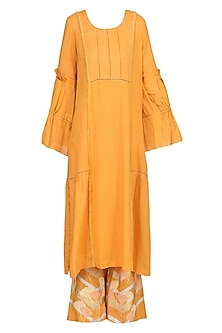 Burnt Orange Embroidered Kurta Set