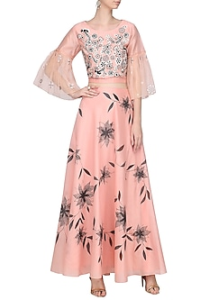 Pink Dori Embroidered Top with Hand Painted Lehenga Skirt by Devnaagri