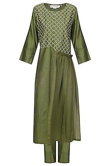 Olive Kantha Embroidered Kurta Set
