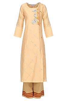 Orange Patra and Dori Embroidered Kurta Set by Devnaagri
