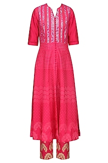 Rose Pink Patra Embroidered Kurta Set