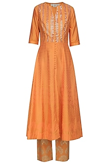 Orange Patra Embroidered Anarkali Set