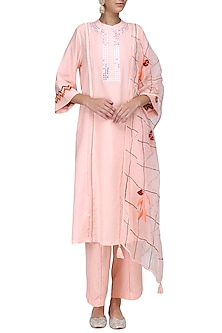 Pink and Off White Patra Embroidered Kurta Set by Devnaagri