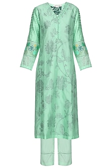 Aqua Blue Block Printed and Embroidered Kurta Set