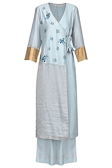 Ash Blue Embroidered Angrakha Kurta Set by Devnaagri