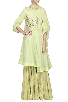 Moss Green Embroidered Anarkali with Sharara Pants Set by Devnaagri