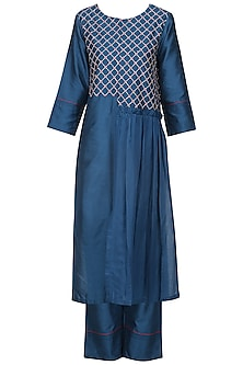 Navy Blue Kantha Embroidered Kurta Set