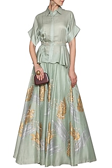 Sea Green Embroidered Top with Skirt by Devnaagri