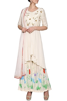 Off White Embroidered Sharara Set by Devnaagri