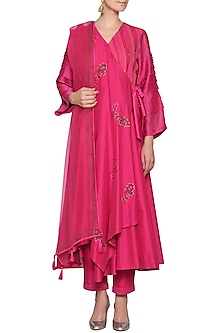 Pink Embroidered Anarkali Set by Devnaagri