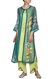 Green Embroidered Kurta with Pants and Jacket by Devnaagri