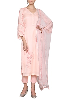 Peach Embroidered Kurta Set by Devnaagri