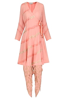 Pink Embroidered and Hand Painted Angrakha Style Anarkali with Dhoti Pants Set by Devnaagri
