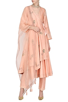Peach Embroidered Angrakha Style Anarkali Set by Devnaagri