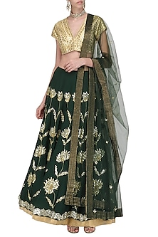 Emerald Green and Gold Embroidered Lehenga Set by Devnaagri