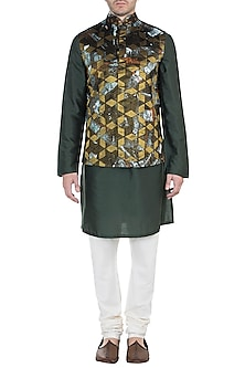 Olive Green Embroidered Bundi Jacket with Kurta by Diya Rajvvir Men
