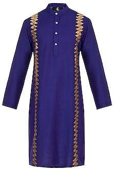 Royal Blue Embroidered Long Kurta by Diya Rajvvir Men