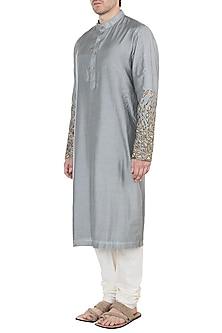 Grey Embroidered Long Kurta by Diya Rajvvir Men