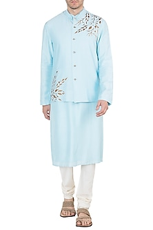 Powder Blue Embroidered Bundi Jacket With Kurta by Diya Rajvvir Men