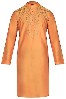 Orange Chain Painted Kurta by Diya Rajvvir Men
