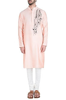 Peach Cutdana Abstract Kurta by Diya Rajvvir Men