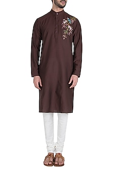 Brown Bird Painted Kurta by Diya Rajvvir Men