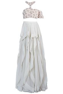 Offwhite Embellished Lehenga Skirt with Blouse by Diya Rajvvir