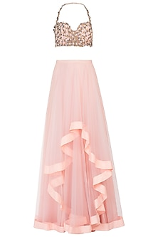 Peach Embellished Lehenga Skirt with Blouse
