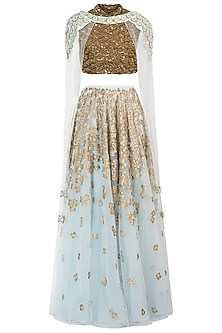 Ice Blue Embellished Lehenga Skirt with Blouse and Cape