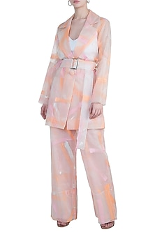 Blush pink painted suit set by Diya Rajvvir