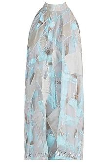 Powder blue pleated dress by Diya Rajvvir