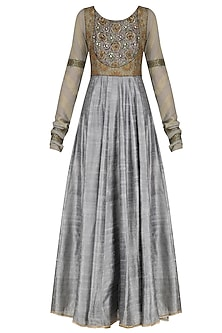 Grey Zari Embroidered Kalidaar Anarkali Set