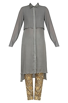 Grey Flap Kurta and Chanderi Brocade Pants Set