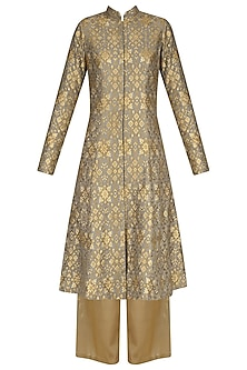 Grey Chanderi Brocade Sherwani and Palazzo Pants Set
